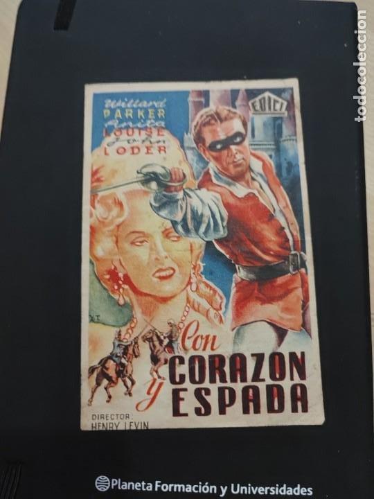 FOLLETO DE MANO CON CORAZON Y ESPADA WILLARD PARKER AÑO 1948 (Cine - Folletos de Mano - Drama)