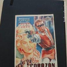 Cine: FOLLETO DE MANO CON CORAZON Y ESPADA WILLARD PARKER AÑO 1948. Lote 278543443