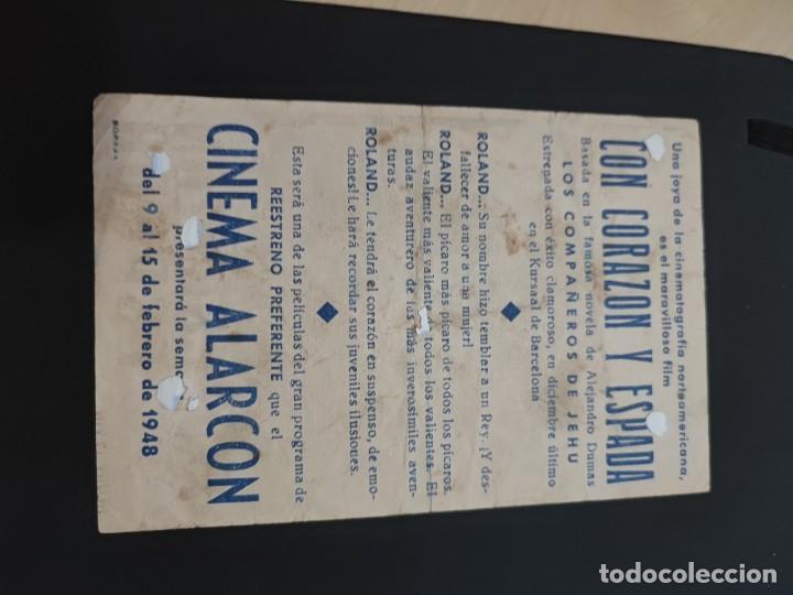 Cine: folleto de mano CON CORAZON Y ESPADA Willard Parker año 1948 - Foto 2 - 278543443