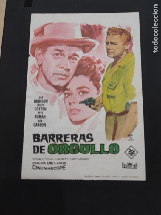 FOLLETO DE MANO BARRERAS DE ORGULLO , VAN JOHNSON , (Cine - Folletos de Mano - Drama)