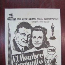 Cine: EL HOMBRE TRANQUILO - FOLLETO MANO ORIGINAL LOCAL - JOHN WAYNE MAUREEN O'HARA JOHN FORD - IMPRESO. Lote 278755343