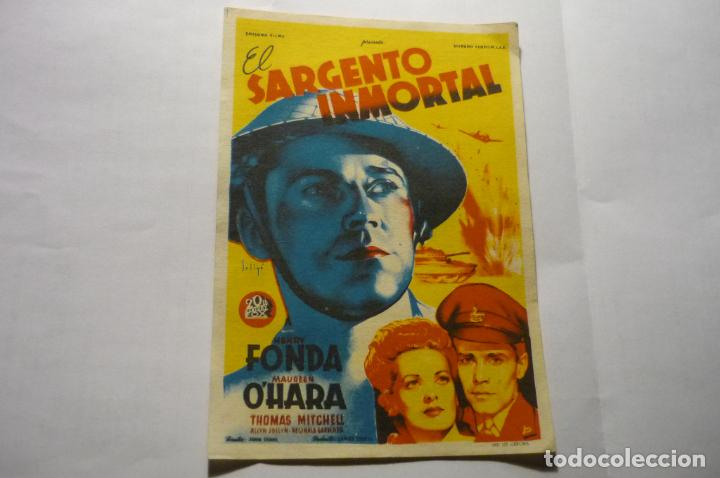 PROGRAMA EL SARGENTO INMORTAL -HENRY FOND PUBLICIDAD CENTRO .-LA ESCALA (Cine - Folletos de Mano - Bélicas)