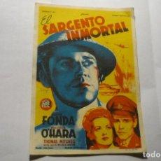 Cine: PROGRAMA EL SARGENTO INMORTAL -HENRY FOND PUBLICIDAD CENTRO .-LA ESCALA. Lote 278845843