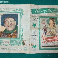 Cine: PROGRAMAS DE CINE TEATRO CERVANTES CEUTA. LA VENGANZA DEL CORSARIO, Y SOBRE NOSOTROS EL CIELO........ Lote 278928883