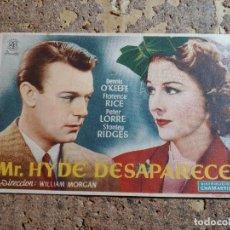 Cine: FOLLETO DE MANO DE LA PELICULA MR. HYDE DESAPARECE CON PUBLICIDAD. Lote 278938743