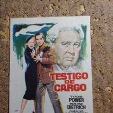 Cine: FOLLETO DE MANO DE LA PELICULA TESTIGO DE CARGO. Lote 278946333