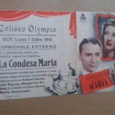 Cine: LA CONDESA MARIA DOBLE CON PUBLICIDAD TEATRO COLISEO OLYMPIA GRANADA. Lote 278979343