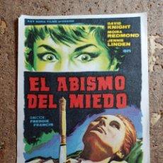 Cine: FOLLETO DE MANO DE LA PELICULA EL ABISMO DEL MIEDO. Lote 279414288