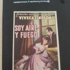Cine: FOLLETO DE MANO SOY AIRE Y FUEGO , VIVANCA LINDFORS ,. Lote 279419358
