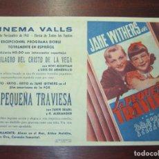 Cine: LA PEQUEÑA TRAVIESA - FOLLETO MANO ORIGINAL DOBLE - JANE WITHERS O P HEGGIE JACKIE SEARL - IMPRESO. Lote 279419418