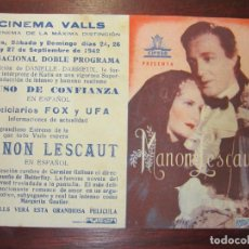 Cine: MANON LESCAUT - FOLLETO MANO ORIGINAL DOBLE - VITTORIO DE SICA ALIDA VALLI CARMINE GALLONE - IMPRESO. Lote 279419523