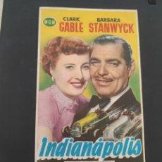 Cine: FOLLETO DE MANO INDIANAPOLIS , CLARK GABLE , 1953. Lote 279419943