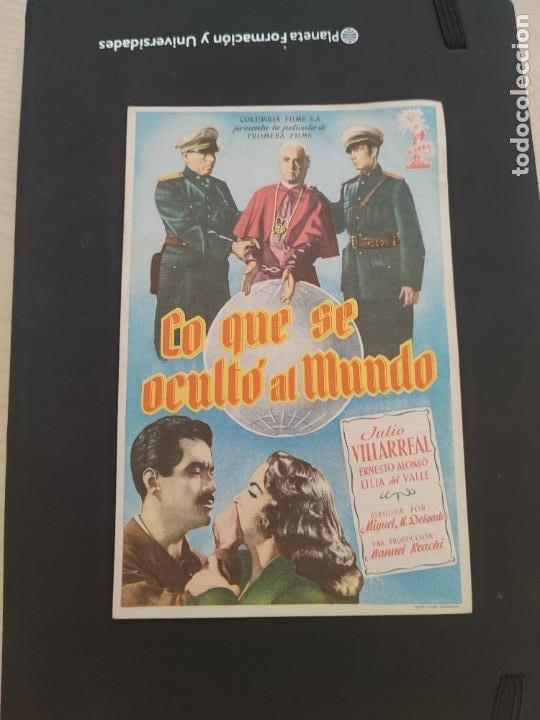 FOLLETO DE MANO LO QUE SE OCULTO AL MUNDO , JULIO VILLARREAL , 1954 (Cine - Folletos de Mano - Drama)
