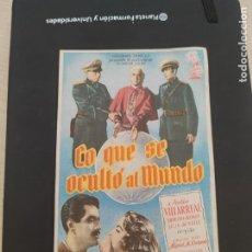 Cine: FOLLETO DE MANO LO QUE SE OCULTO AL MUNDO , JULIO VILLARREAL , 1954. Lote 279420023
