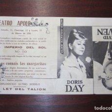 Cine: NO OS COMAIS LAS MARGARITAS - FOLLETO MANO ORIGINAL DOBLE - DORIS DAY DAVID NIVEN - IMPRESO. Lote 279420108