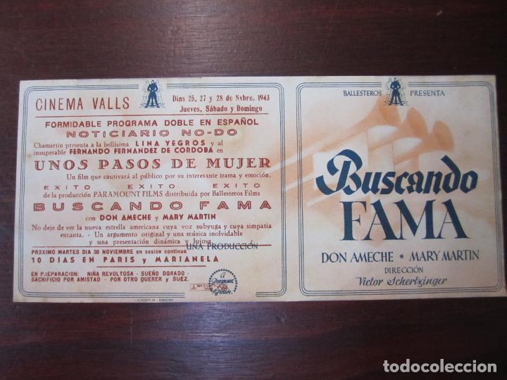 BUSCANDO FAMA - FOLLETO MANO ORIGINAL DOBLE - DON AMECHE MARY MARTIN - IMPRESO (Cine - Folletos de Mano - Musicales)