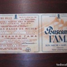 Cine: BUSCANDO FAMA - FOLLETO MANO ORIGINAL DOBLE - DON AMECHE MARY MARTIN - IMPRESO. Lote 279420238