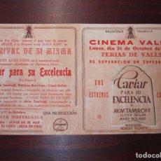 Cine: CAVIAR PARA SU EXELENCIA - FOLLETO MANO ORIGINAL DOBLE TROQUELADO - AKIM TAMIROFF - IMPRESO. Lote 279420688