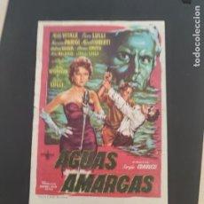 Cine: FOLLETO DE MANO AGUAS AMARGAS , MILLY VITALE , 1958. Lote 279420793