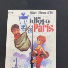 Cine: FOLLETO DE MANO ; UN IDIOTA EN PARIS ; 1970 ; DANI CARREL. Lote 279421418