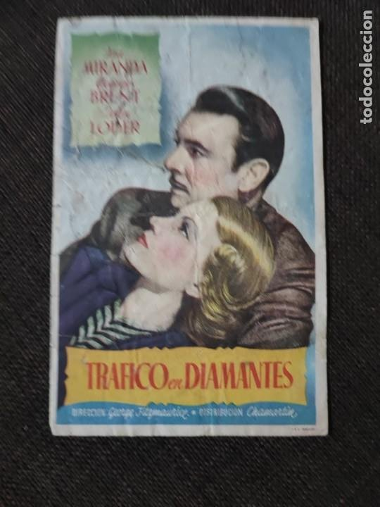 FOLLETO DE MANO TRAFICO EN DIAMANTES , ISA MIRANDA , (Cine - Folletos de Mano - Drama)
