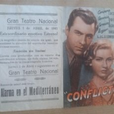 Cine: CONFLICTO DOBLE CON PUBLICIDAD TEATRO GRAN TEATRO NACIONAL. Lote 279589973