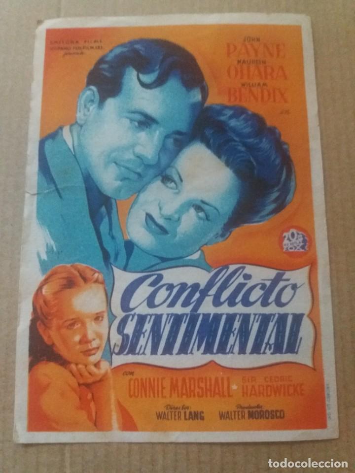 CONFLICTO SENTIMENTAL CON PUBLICIDAD CINE PLUS ULTRA MÁLAGA (Cine - Folletos de Mano - Drama)