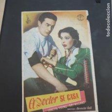 Cine: FOLLETO DE MANO EL DOCTOR SE CASA , LORETTA YOUNG , 1947. Lote 280122953