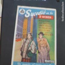Cine: FOLLETO DE MANO SUCEDIO EN LA 5A AVENIDA , DON DE FORE , 1950. Lote 280123598