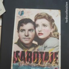 Cine: FOLLETO DE MANO SABOTAJE , ALFRED HITCHCOCK , 1946. Lote 280124298