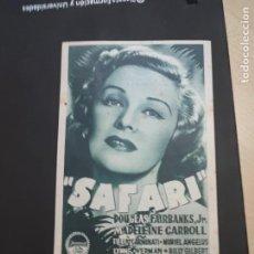 Cine: FOLLETO DE MANO SAFARI , DOUGLAS FAIRBANKS , 1951. Lote 280124353