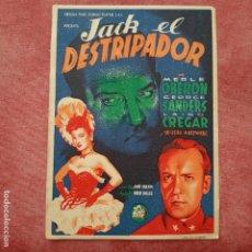 Cine: P2 FOLLETO DE MANO DE LA PELÍCULA JACK EL DESTRIPADOR CON PUBLICIDAD. Lote 280353458