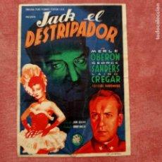 Cine: P2 FOLLETO DE MANO DE LA PELÍCULA JACK EL DESTRIPADOR CON PUBLICIDAD. Lote 280353488