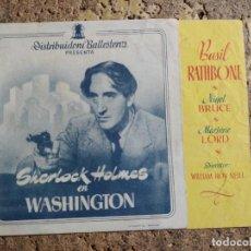 Cine: FOLLETO DE MANO DOBLE DE LA PELICULA SHERLOCK HOLMES EN WASHINGTON. Lote 280545548