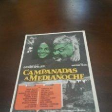 Folhetos de mão de filmes antigos de cinema: PROGRAMA DE MANO ORIG - CAMPANADAS A MEDIANOCHE - CON CINE IMPRESO AL DORSO. Lote 280992023