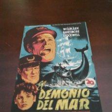 Foglietti di film di film antichi di cinema: PROGRAMA DE MANO ORIG - EL DEMONIO DEL MAR - CON CINE DE JACA IMPRESO AL DORSO. Lote 281893323