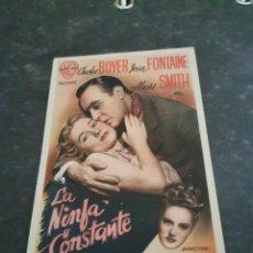 Folhetos de mão de filmes antigos de cinema: PROGRAMA DE MANO ORIG - LA NINFA CONSTANTE - CON CINE ALMIRANTE IMPRESO AL DORSO. Lote 282533848