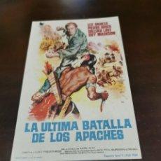 Cine: PROGRAMA DE MANO ORIG - LA ÚLTIMA BATALLA DE LOS APACHES - CON CINE DE VALL DE UXO IMPRESO AL DORSO. Lote 282561678