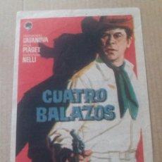 Folhetos de mão de filmes antigos de cinema: CUATRO BALAZOS CON PUBLICIDAD TEATRO CÓMICO LA LÍNEA. Lote 282958783