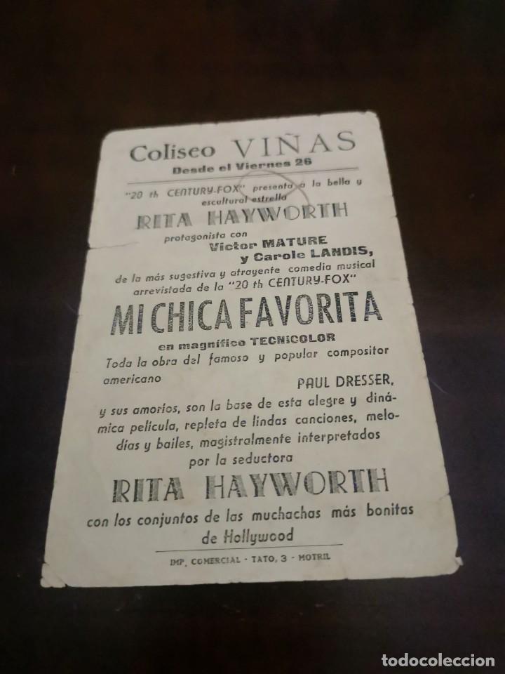 Cine: PROGRAMA DE MANO ORIG - MI CHICA FAVORITA - CON CINE DE MOTRIL AL DORSO - Foto 2 - 283036738