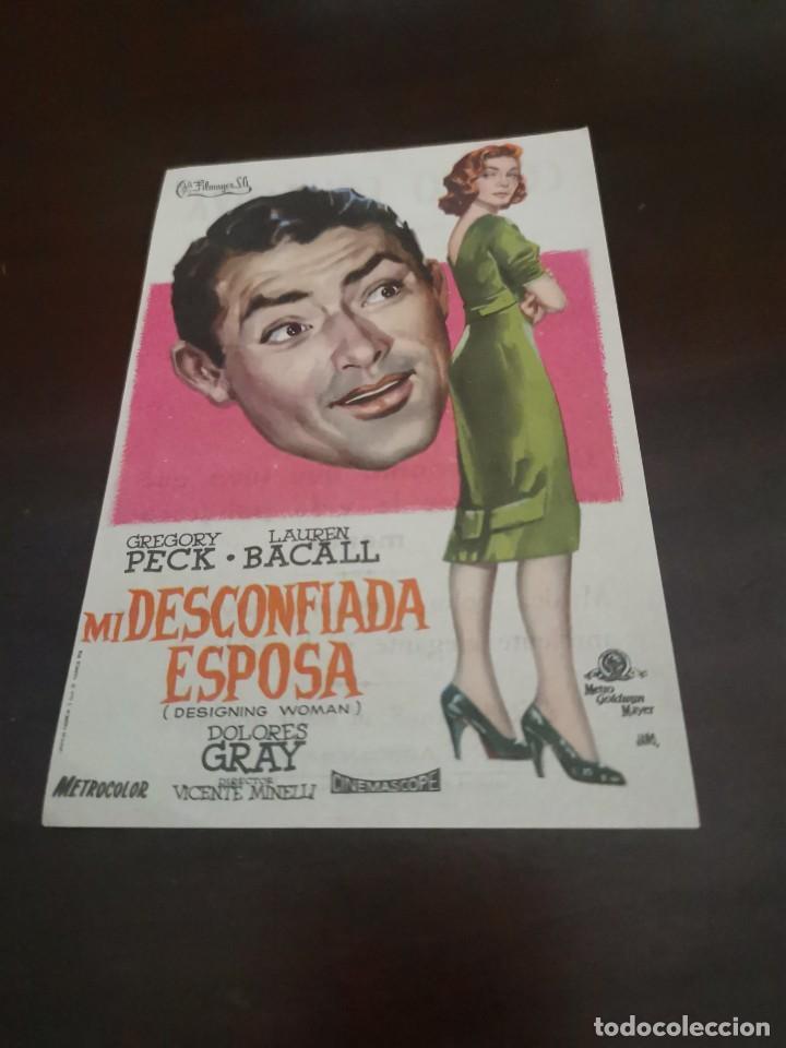 PROGRAMA DE MANO ORIG - MI DESCONFIADA ESPOSA - CON CINE DE ZARAGOZA AL DORSO (Cine - Folletos de Mano - Comedia)