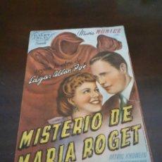 Cine: PROGRAMA DE MANO ORIG - MISTERIO DE MARIA ROGET - CON CINE SAN VICENTE AL DORSO. Lote 283039713