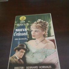 Folhetos de mão de filmes antigos de cinema: PROGRAMA DE MANO ORIG - NUEVA ORLEANS - CON PUBLICIDAD IMPRESA AL DORSO. Lote 283044653