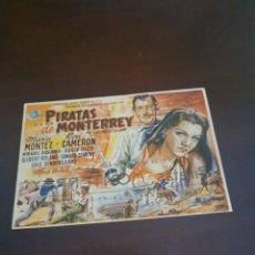 Cine: PROGRAMA DE MANO ORIG - PIRATAS DE MONTERR- CON CINE GOYA IMPRESO AL DORSO. Lote 283198248