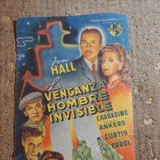 Folhetos de mão de filmes antigos de cinema: FOLLETO DE MANO GIGANTE DE LA PELICULA LA VENGANZA DEL HOMBRE INVISIBLE. Lote 283316048