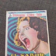 Cine: FOLLETO DE MANO EL SABOR DEL MIEDO , SUSAN STRASBERG , 1964 , RE F94. Lote 283337948
