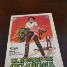 Folhetos de mão de filmes antigos de cinema: PROGRAMA DE MANO ORIG - EL HOMBRE DE OKLAHOMA - CON CINE PRINCIPAL IMPRESO AL DORSO. Lote 284695313