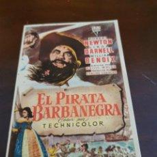 Folhetos de mão de filmes antigos de cinema: PROGRAMA DE MANO ORIG - EL PIRATA BARBANEGRA - CON CINE DE ORIHUELA IMPRESO AL DORSO. Lote 284698213