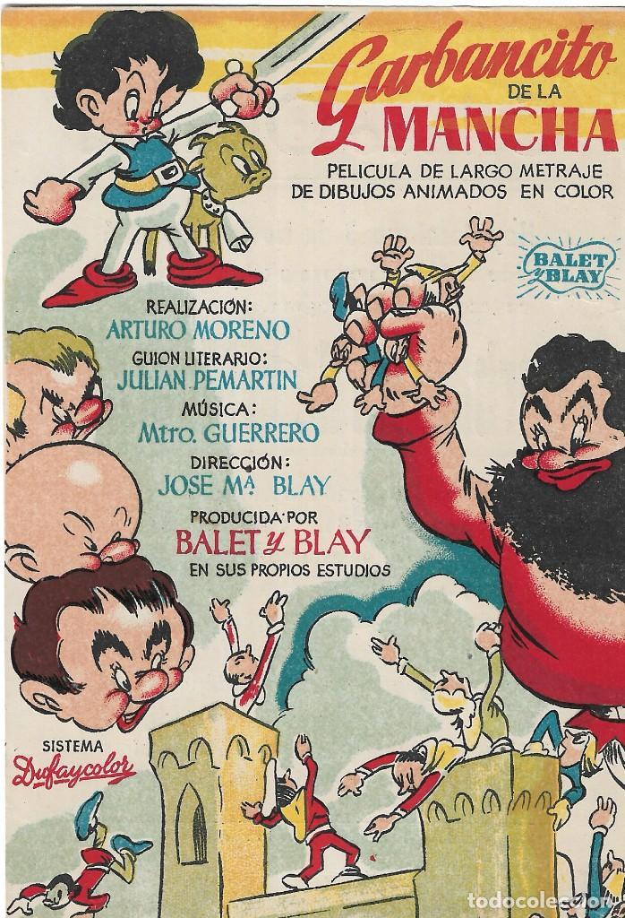 PG - PROGRAMA DE CINE - GARBANCITO DE LA MANCHA - BALET Y BLAY - COLISEO OLYMPIA (MÁLAGA) - 1946. (Cine - Folletos de Mano - Infantil)