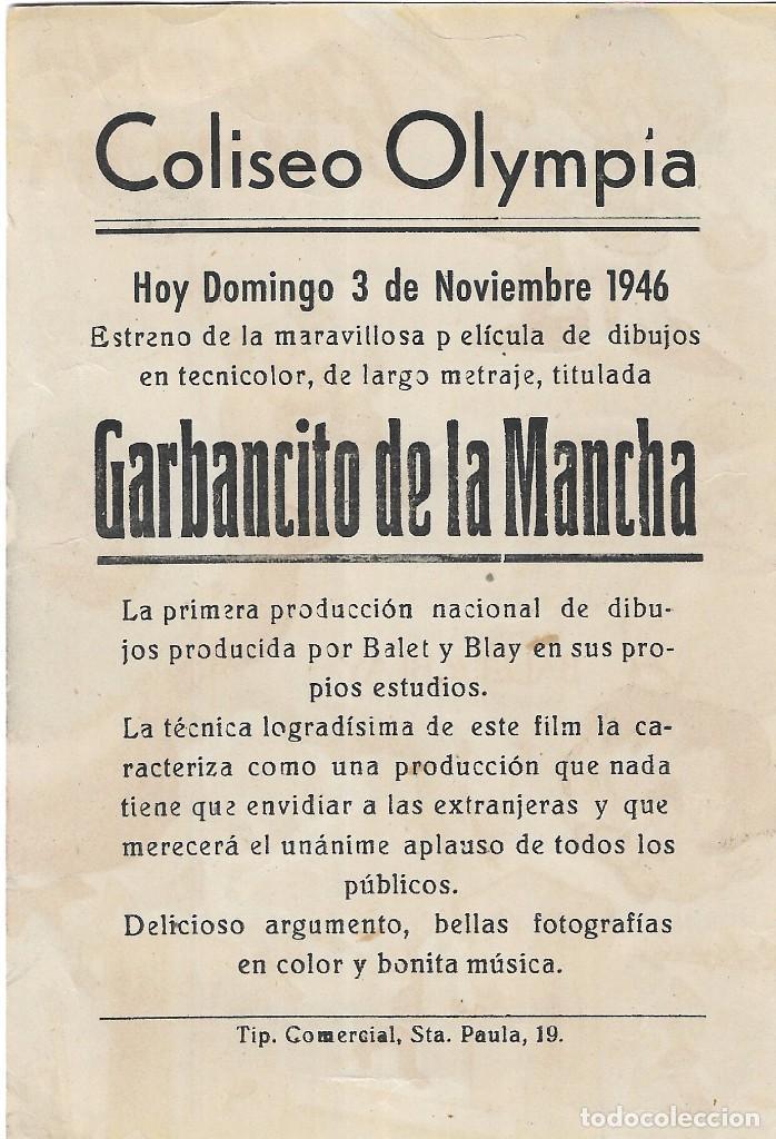Cine: PG - PROGRAMA DE CINE - GARBANCITO DE LA MANCHA - BALET Y BLAY - COLISEO OLYMPIA (Málaga) - 1946. - Foto 2 - 284755113